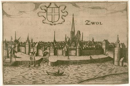 2 -15 Gezicht op Zwolle van over het Zwarte Water gezien., 1600