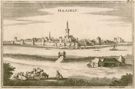 2 -2 Gezicht op Hasselt, van over het Zwarte Water gezien, met landelijk tafereel op de voorgrond., 1600