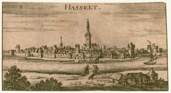 2 -3 Gezicht op Hasselt, van over het Zwarte Water gezien., 1600