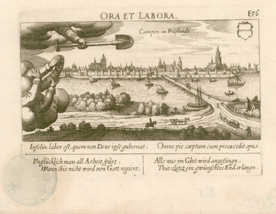 2 -4 Gezicht op Campen in Friesland, links omkaderd door een uitbeelding van het spreekwoord 'Ora et labora'. Als ...