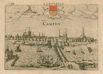 2 -9 Gezicht op Kampen, met ingekleurd wapen, in dorso een Latijnse tekst over Swollae [Zwolle]. Linksboven oud ...