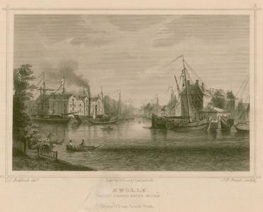 3 -11 Afbeelding van Zwolle met de Thorbeckegracht met rechts het Hopmanshuis., 1800