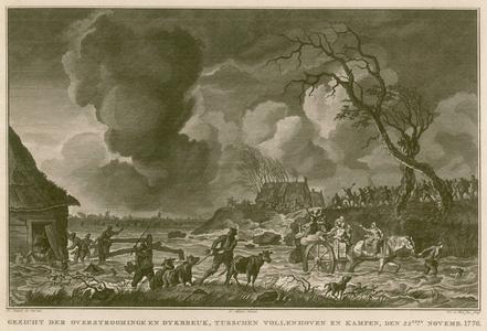 3 -12 Afbeelding van mensen die geevacueerd worden i.v.m. de overstroming van november 1776., 1776