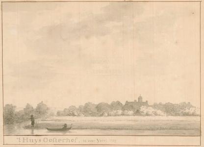 3 -1 Een afbeelding van een landschap met op de achtergrond huis (Havezate) Oosterhof in Rijssen en op de voorgrond een ...