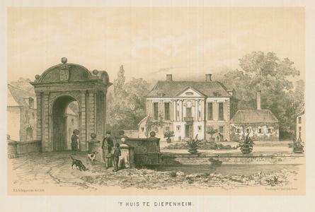 3 -2 Afbeelding van het huis in Diepenheim, met op de voorgrond honden en mensen op een brug., 1800