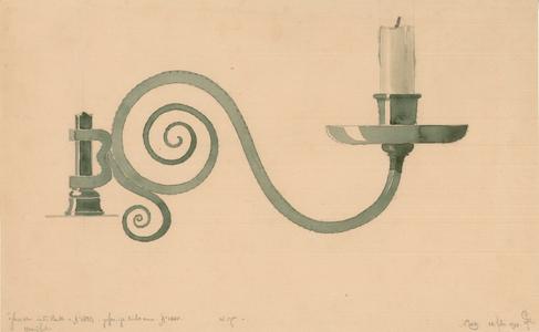 3 -4 Afbeelding van een smeedijzeren kandelaar in de kerk in IJhorst. [Initialen C.F. ?], 1918-02-22