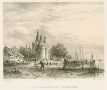 3 -8 Afbeelding van de Sint Nicolaaspoort in Kampen, met op de voorgrond vissersnetten en een visser., 1858