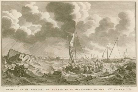 5 -4 Afbeelding van een overstroming bij Kampen in 1775. Op de voorgrond varen diverse boten om drenkelingen van ...