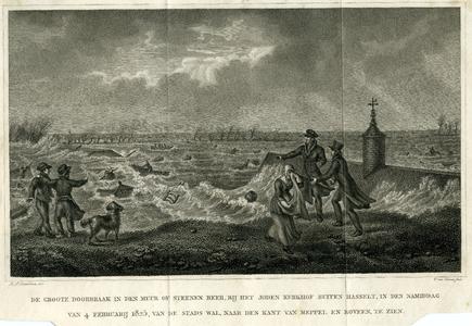 5 -5 Afbeelding van een overstroming bij Hasselt in 1825., 1825