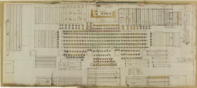 10537-KD000053 [Zonder titel]Plattegrond van de Broerenkerk te Zwolle met nummers van de verhuurde zitplaatsen. Geplakt ...