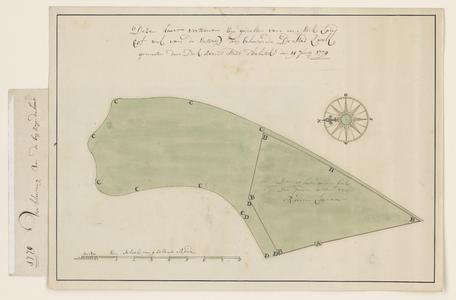 1326-KD000158 Deze kaart vertoont een gedeelte van een stuk land (ofwel van de Enterij) toegehorende de stad Zwolle, ...