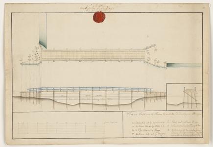1202-KD000166 Plan en profil van de nieuwe te makende SchoekupenbruggeBovenaanzicht en twee profielen met waterhoogten ...
