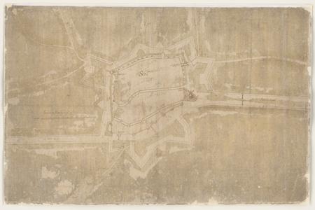 1260-KD000001 [Zonder titel]Ontwerp door Abraham van Nievelt van de nieuwe verdedigingswerken rond de stad Zwolle, in ...