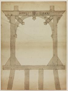 1265-KD000027 Tekeninge van een hek van een Valbrugge, no. 39. [vermeld op achterzijde]Ontwerp voor een nieuwe houten ...