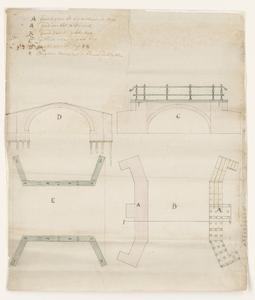 1335-KD000148 [Zonder titel]Ontwerptekening van de opstand en plattegrond van een boogvormige brug met leuningen. Zij- ...