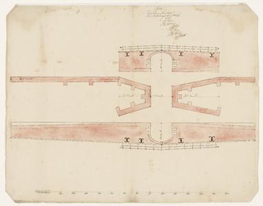 1365-KD000162 [Zonder titel]Ontwerptekening van de opstand en plattegrond van J.H. Thobias van een boogvormige brug met ...
