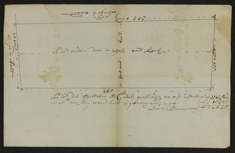 1721-KD000167 Caartje figuratiefKaart van een stuk land in het Weezenland bij de Schoenkuipenbrug. Kaart van een stuk ...