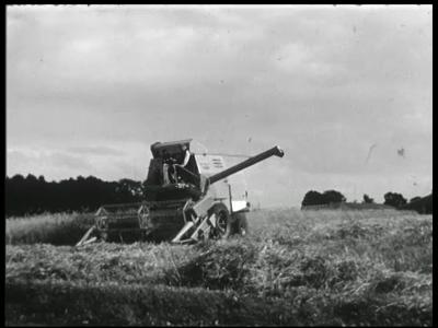 11199 BB02342 Reportage over Bathmen in 1960. M.n. beelden van agrarische werkzaamheden zoals het maaien en dorsen van ...