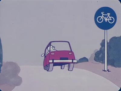 14563 BB11294 Een reclame tekenfilm voor Union fietsen, met hierin de volgende beelden:- Een mannetje pompt een ...