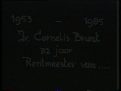 14641 BB00517 Documentaire over het afscheid van Cornelis Brunt als rentmeester van Twickel op 23 mei 1985, met veel ...