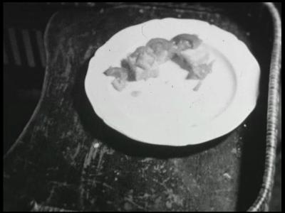 8463 BB08083 Een familiefilm van de familie Lamberts, met beelden van o.a.:- Paul in zijn kinderstoel aan de maaltijd;- ...