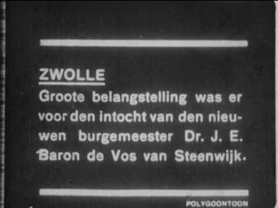 9577 BB00030 Samenvatting:Journaalbeelden van diverse gebeurtenissen in Zwolle:- De intrede van burgemeester dr. J.E. ...