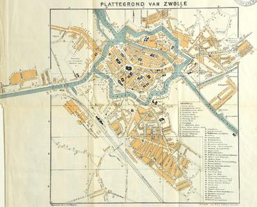 1058-KD000380 Plattegrond van Zwolle Kaart van Zwolsebinnenstad. In de Kamperpoort worden vermeld: Hoogstraat, Het ...
