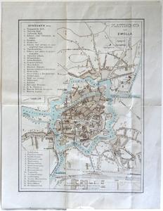 1451-KD001094 Plattegrond van Zwolle Plattegrond van de binnenstad van Zwolle, Diezerpoort, Kamperpoort en Assendorp. ...