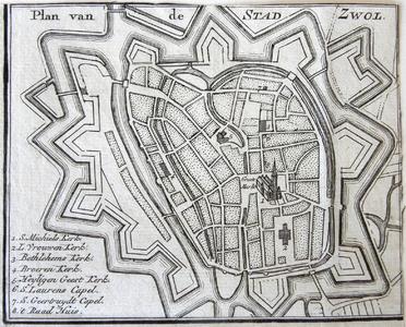 1454-KD001097 Plan van de stad Zwol Schematische gravure van de binnenstad van Zwolle, met kerken, kapellen en ...