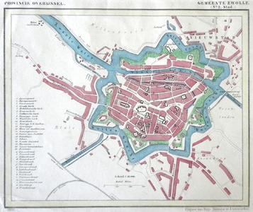 1533-KD001104 Provincie Overijssel, Gemeente Zwolle (nr 2, stad) Kaart van de binnenstad van Zwolle met Kamperpoort, ...