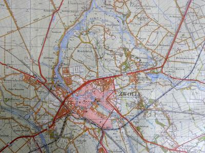 1667-KD001148 Zwolle, 21 west en oost Topografische kaart van Zwolle en omringende gebieden. Ten noorden: Kampen, ...