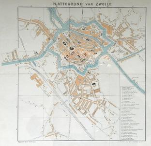 1689-KD001170 Plattegrond van Zwolle Plattegrond van het centrum en de buitenwijken van Zwolle. Assendorp is bebouwd ...