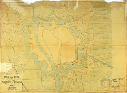1800-KD001177 Stad van Zwol aan de revire de Vecht met sijne fortificatie en situation so als in den jaar 1730 ...