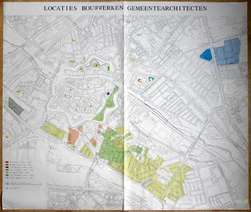580-KD001424 Locaties bouwwerken gemeentearchitecten Kopie van een topografische kaart van het centrum van Zwolle en ...