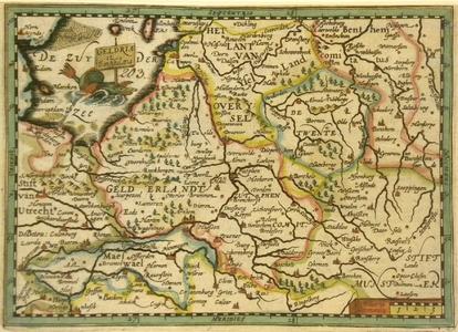 651-KD000296 Geldria et Transisilana Kaart van Gelderland en Overijssel verdeeld in het Lant van Overijssel met ...