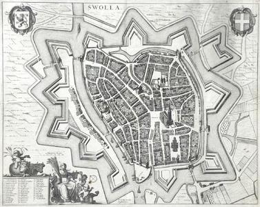 918-KD000348 Swolla Plattegrond van Zwolle met onder andere het raadhuis, vestingwerken, kerken, kloosters, gasthuis, ...