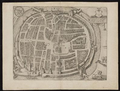 934-KD000364 Swol (Swolla diu celebris) Plattegrond van Zwolle met een cartouche. Kerken, kloosters, vestingwerken en ...