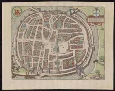 935-KD000365 Swol (Swolla diu celebris) Plattegrond van Zwolle met een cartouche. Kerken, kloosters, vestingwerken en ...
