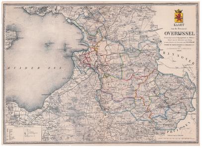 2167-0 Kaart van Overijssel Eerste blad van driebladige kaart van Overijssel vervaardigd naar de Topografische en ...