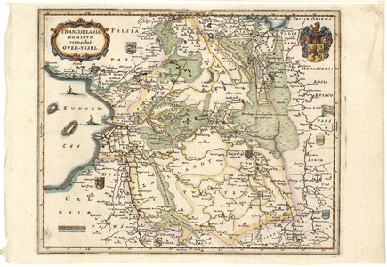 643-KD000288 TRANSISELANIA | DOMINVM | vernacluè | OVER-YSSEL. 1 kaart. Kopie van de kaart van Blaeu van 1638. Kleiner ...