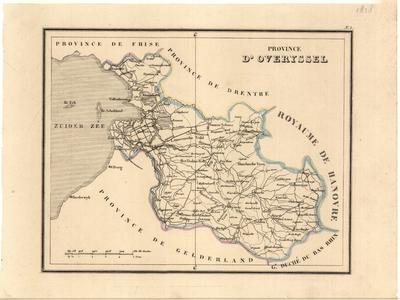 647-KD000292 PROVINCE   D'OVERYSSEL 1 kaart. Rechts boven het kader No. 5. Grensgekleurd. Toponymie Frans-talig. ...
