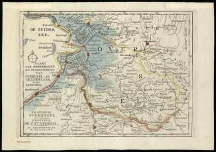 1081-KD000403 Kaart der doorbraken en overstroming van OverYsel en Gelderland op den 4 feby 1825. Kaart waarop de ...
