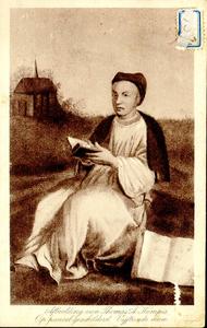 1070 PBKR3745 Thomas a Kempis (1380-1471) zittend met een boek in zijn handen, op de achtergrond het Agnietenklooster ...