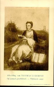 1076 PBKR3751 Portret van Thomas a Kempis (1380-1471), subprior, op de achtergrond het Sint-Agnietenklooster op de ...