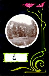 1166 PBKR5457 Schmuckkarte Jugendstil knuppelbrug naar het Vogeleiland in park Het Engelse Werk, ca. 1900, 1900-00-00