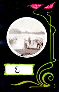 1170 PBKR5461 Schmuckkarte Jugendstil Katerveer veerboot over de IJssel, bij de Katerveerdijk, 1900., 1900-00-00