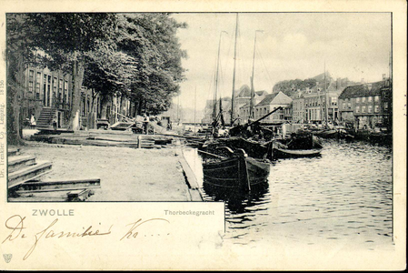 1275 PBKR3774 Westelijk deel van de Thorbeckegracht gezien naar het oosten, ca. 1901-1903. De brug is de ...