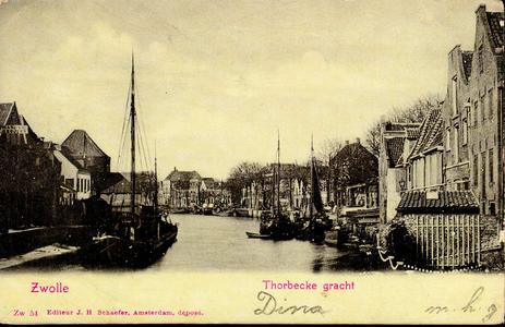 1278 PBKR3777 Thorbeckegracht ca. 1900 gezien van de Diezerpoortenbrug naar het westen met links het Pelsertorentje, ...