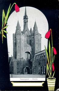 1344 PBKR4918 Schmuckkarte Sassenpoort met rode sneeuwklokjes, ca. 1900, 1900-00-00