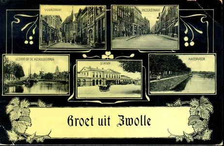 1353 PBKR4927 Combinatiekaart van Zwolle: de Voorstraat in de richting van de Grote Kerk; de Diezerstraat vanaf het ...